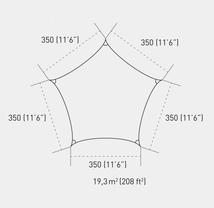Ingenua zeil penta 350 cm (Vijkhoekig sachaduwdoek).png