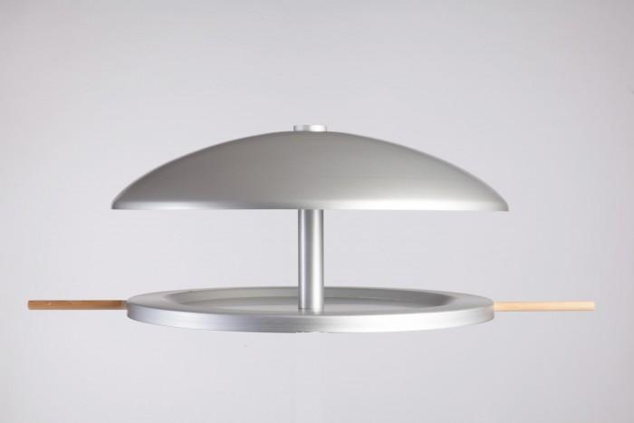 Vogelhuisje rond Aluminium (vogelvoederhuisje), hangend of staand voor op tafel, muur.jpg
